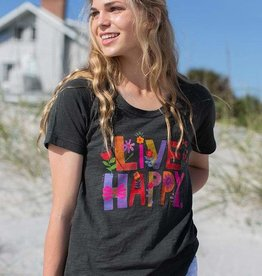 Natural Life Boho Tee Charcoal Live Happy Small