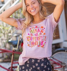 Natural Life Boho Tee Lavender Make a Difference Today Large