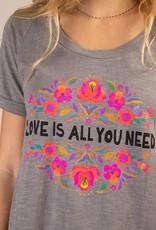 Natural Life Boho Tee Grey Love is all you need Large