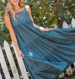 Natural Life Megan Maxi Dress Teal Small