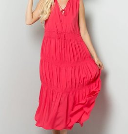 Trend Shop Hot Pink Smocking Flowy Dress