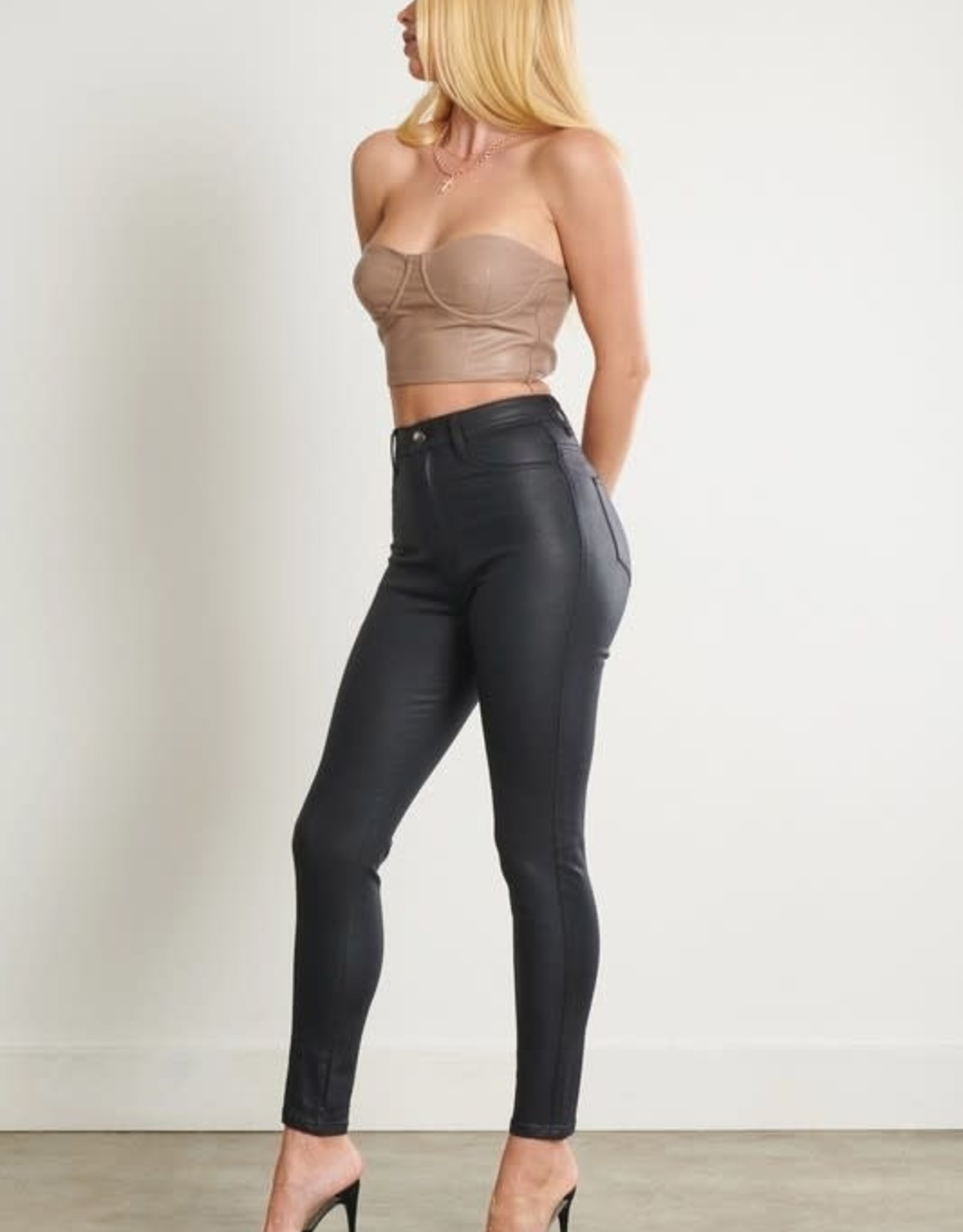 Hammer Collection Black Faux Leather Skinny Jeans