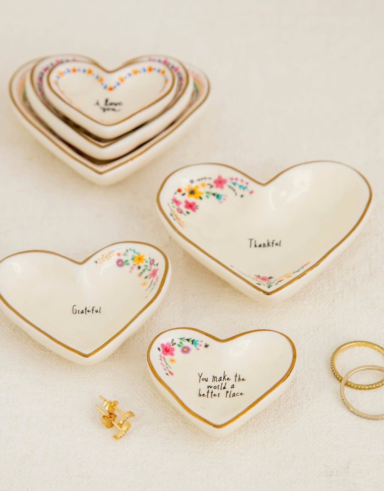 Natural Life Set of 3 heart Trinket Dishes