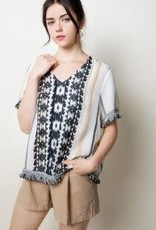 THML THML Embroidered V Neck Top