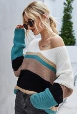 Miss Sparkling Oversized Stripe Sweater