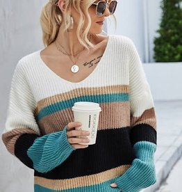 Miss Sparkling Oversized Stripe Sweater