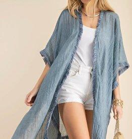 Kori America Soft Fringe Trim Cover Up Kimono