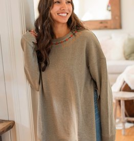 Natural Life Natural Life Embroidered  Sweatshirt Tunic S/M Olive
