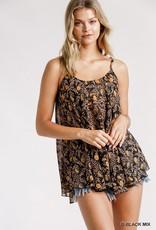 Umgee Sheer Floral Black Prink Top