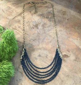 Harlow Harlow 6 layer deep blue crystal sttament necklace