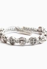 My Saint My Hero Silver Benedictine Blessing Bracelet Metallic Silver