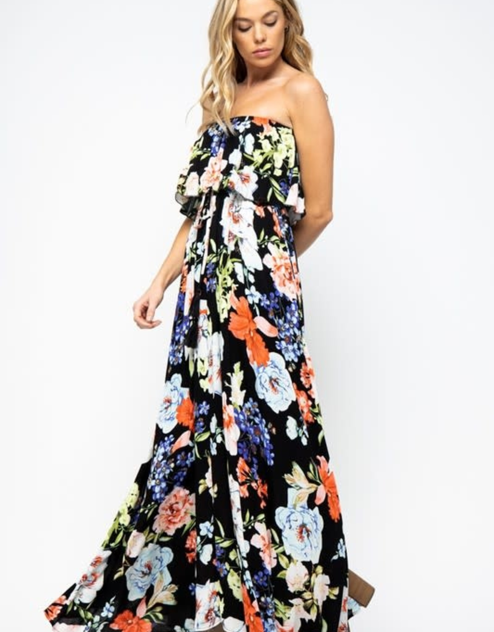 In The Beginning Black Multi Floral Maxi Dress