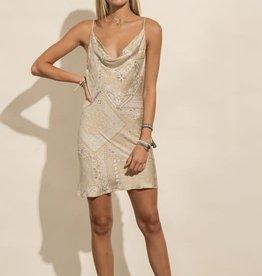 Levee Bandana Cowl Neck Dress