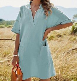 Pink Ripple V-Neck Notched Dress w/pockets Sky Blue