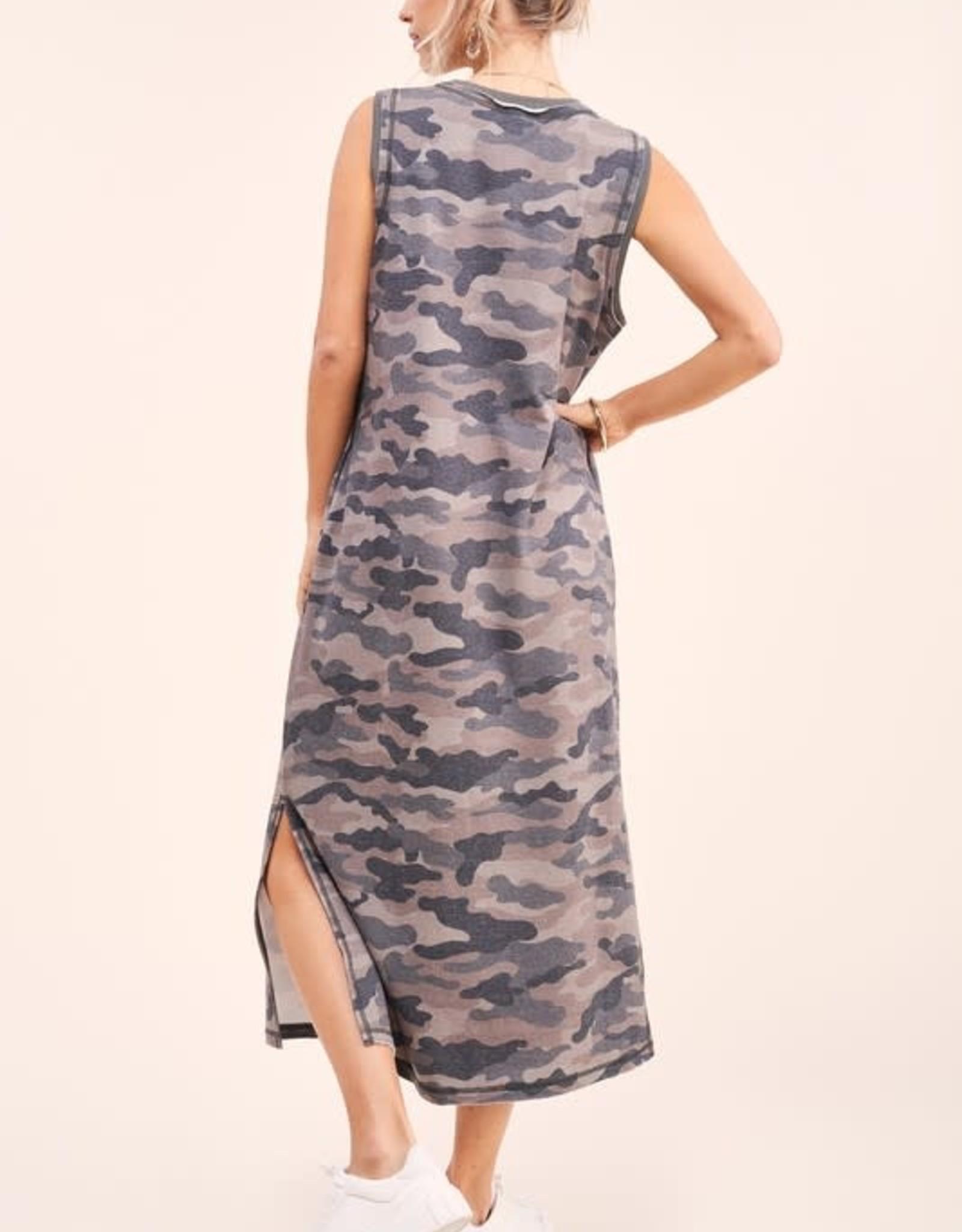 La Miel Camo Sleeveless Dress