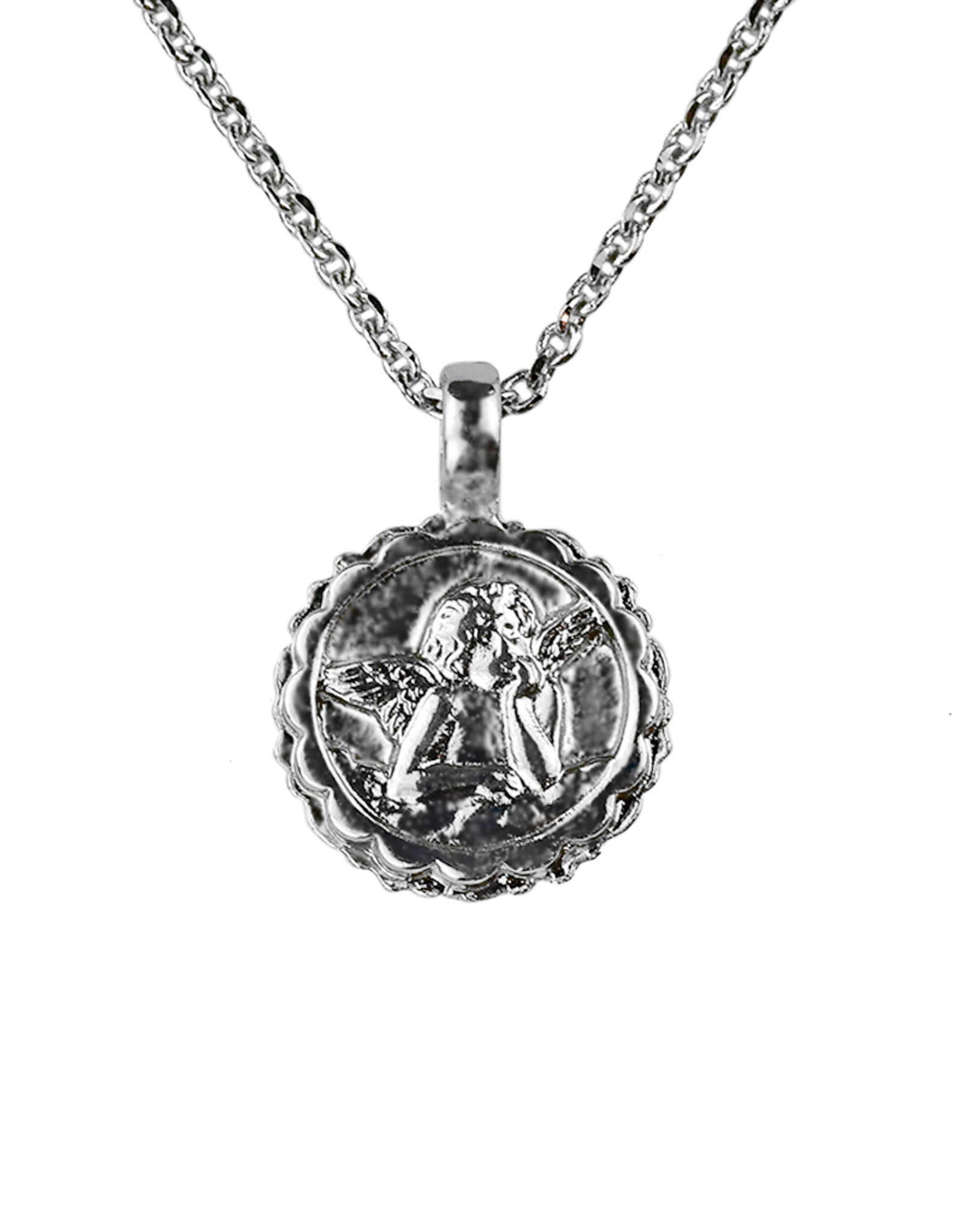 """Mariana Guardian Angel Necklace """"Opalescent"""" - Rhodium"""