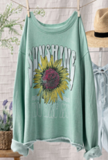 Trend:Notes Floral Print Mint Sweatshirt