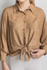 Cobblestone Remi Button Up Camel Top Blouse