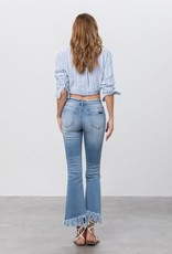 Insane Gene Cropped Mid Rise Jeans w/ Fray