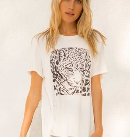 Hem & Thread Leopard Print High Low Side Slit Top