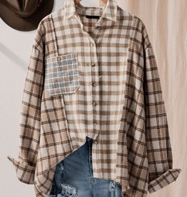 Trend:Notes Oversized Brown Mix Plaid Button Up