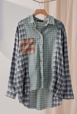 Trend:Notes Green Plaid Patch Oversized Button Down