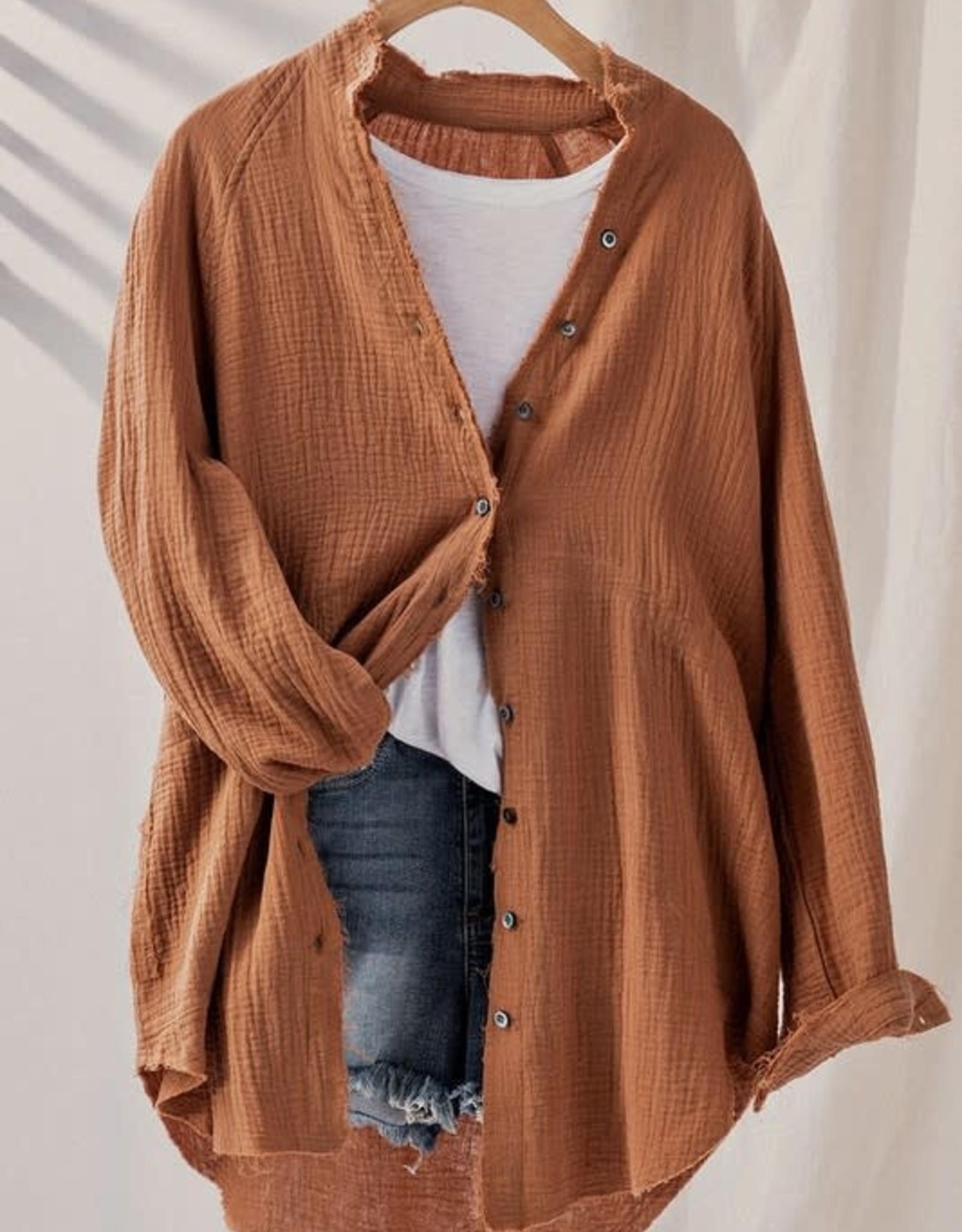 Urban Daizy Plush Cotton Button Down Oversized Shirt