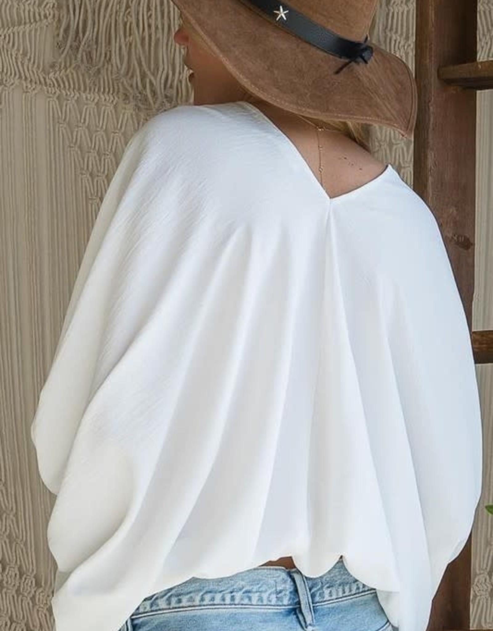 Bucketlist White V-Neck Dolman Sleeve Top