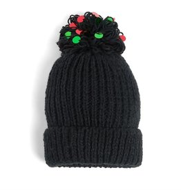 Coco & Carmen Blythe Ribbed Beanie Hat Black Red Green