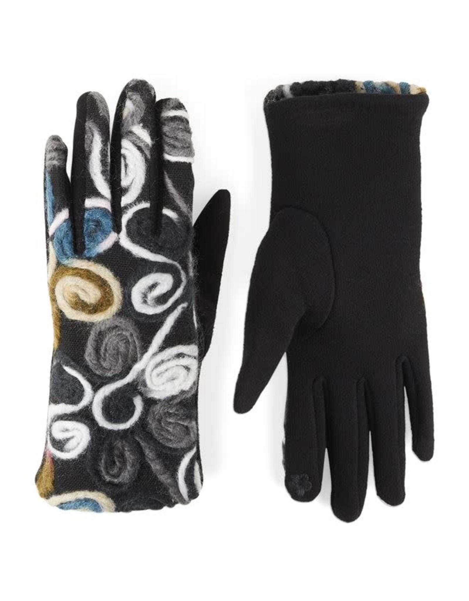 Coco & Carmen Bright Swirl Felt Touchscreen Gloves