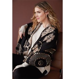 Coco & Carmen Lovelace Hand Embroidered Scarf Black Tan