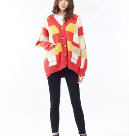 Look By M Multicolored Red Check Sweater