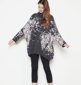 Look By M Splatter Print Cape Sweater Charcoal One Size