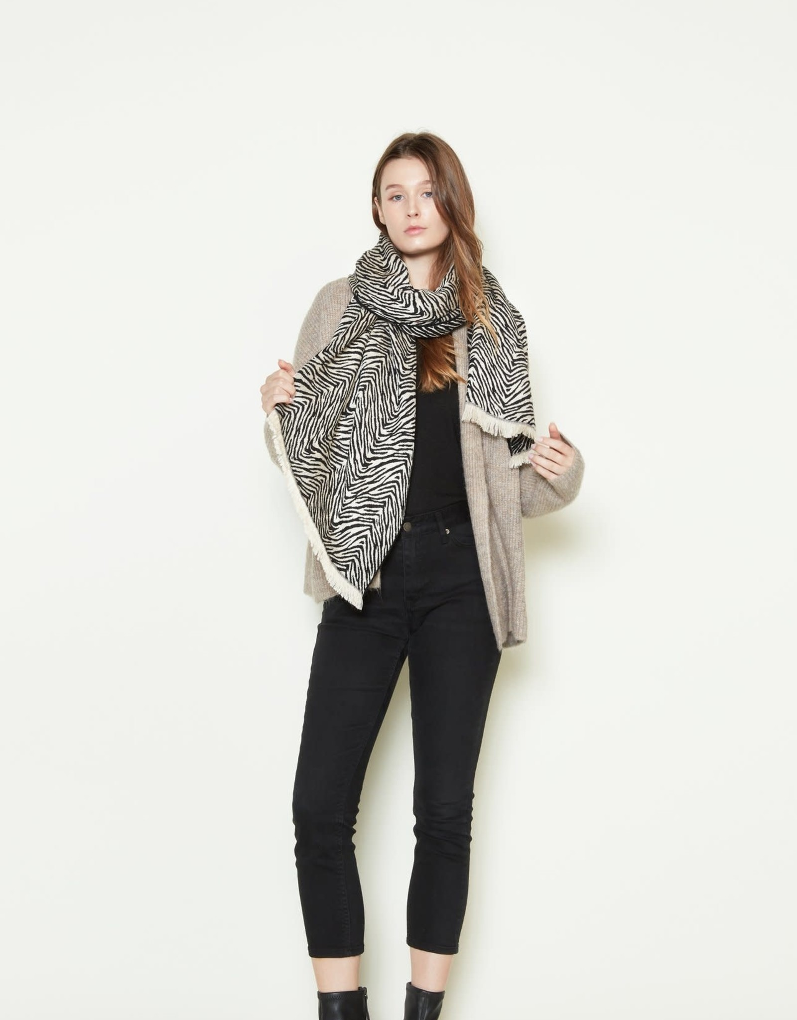 Look By M Zebra Printed Woven Scarf