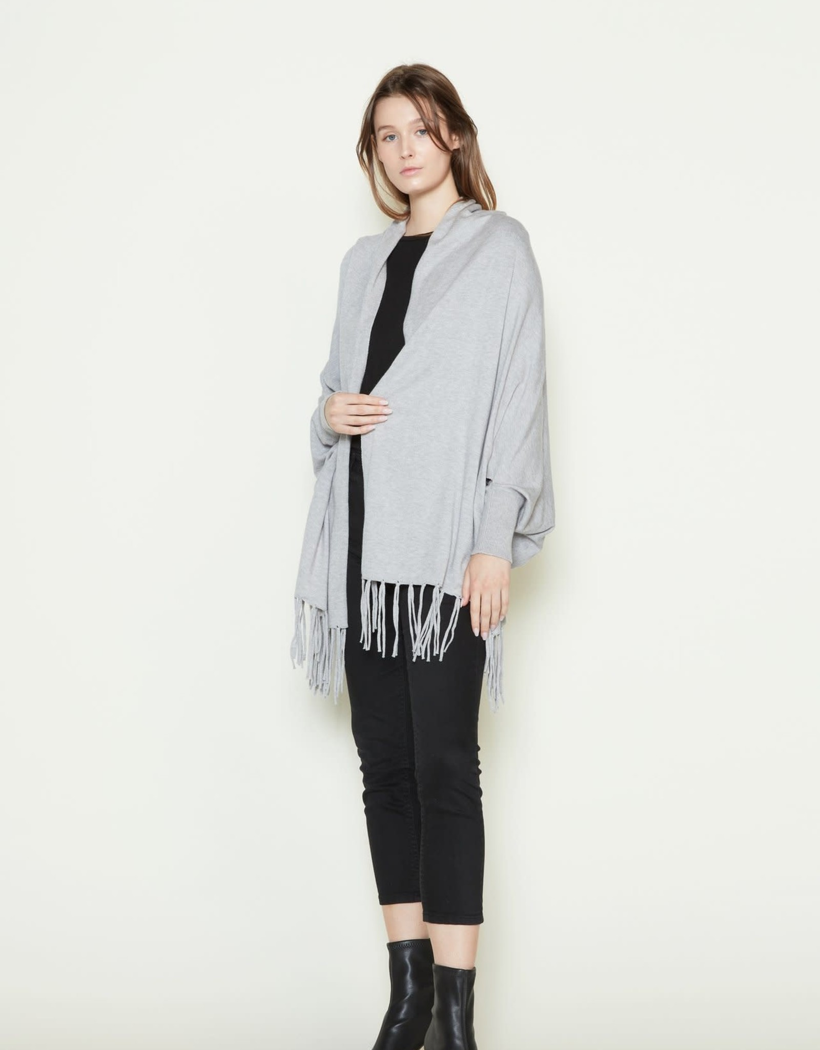 Look By M Basic Fringe Cape Cardigan Assorted Colors One Size