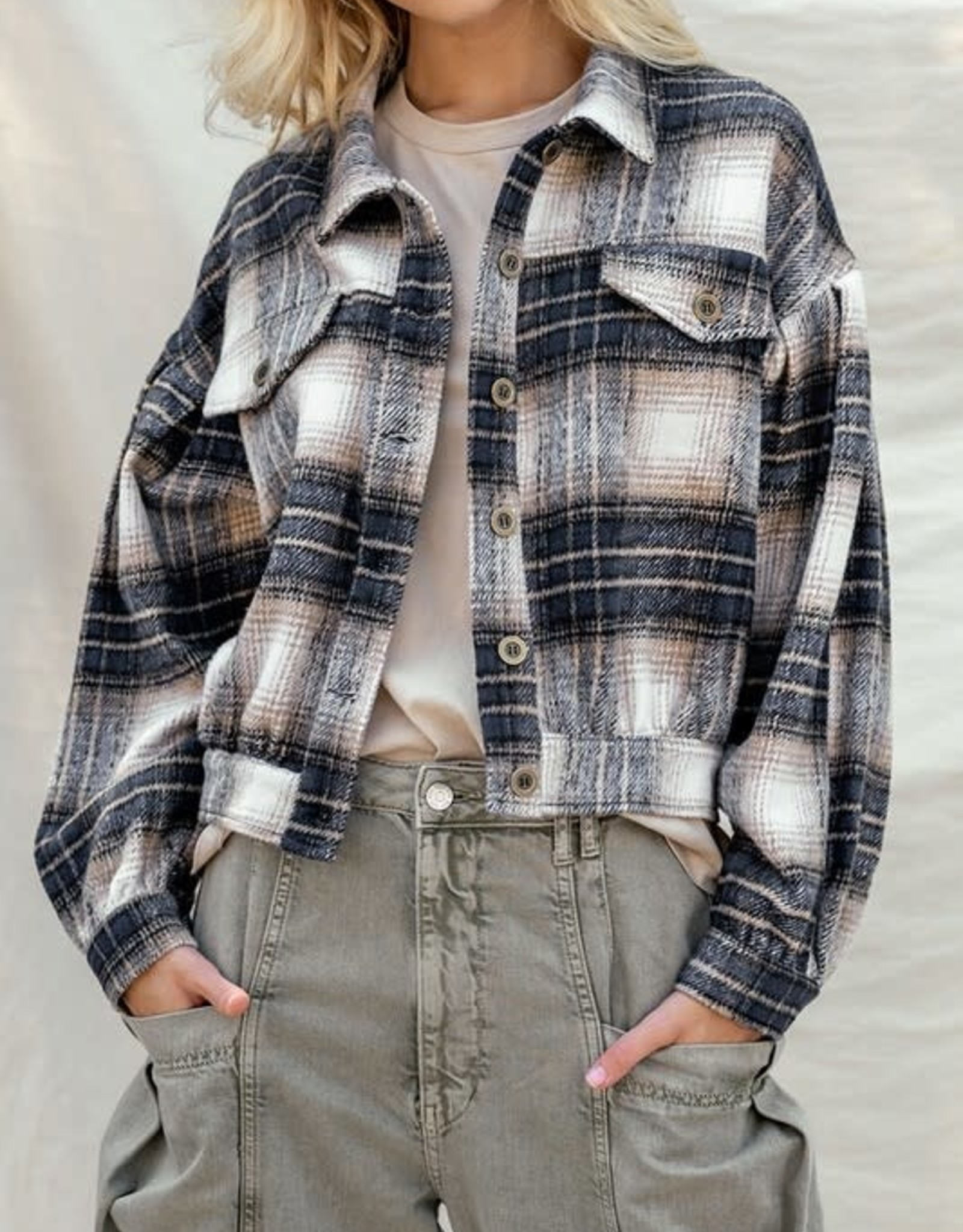 Trend:Notes Plaid Flannel Button Down Jacket