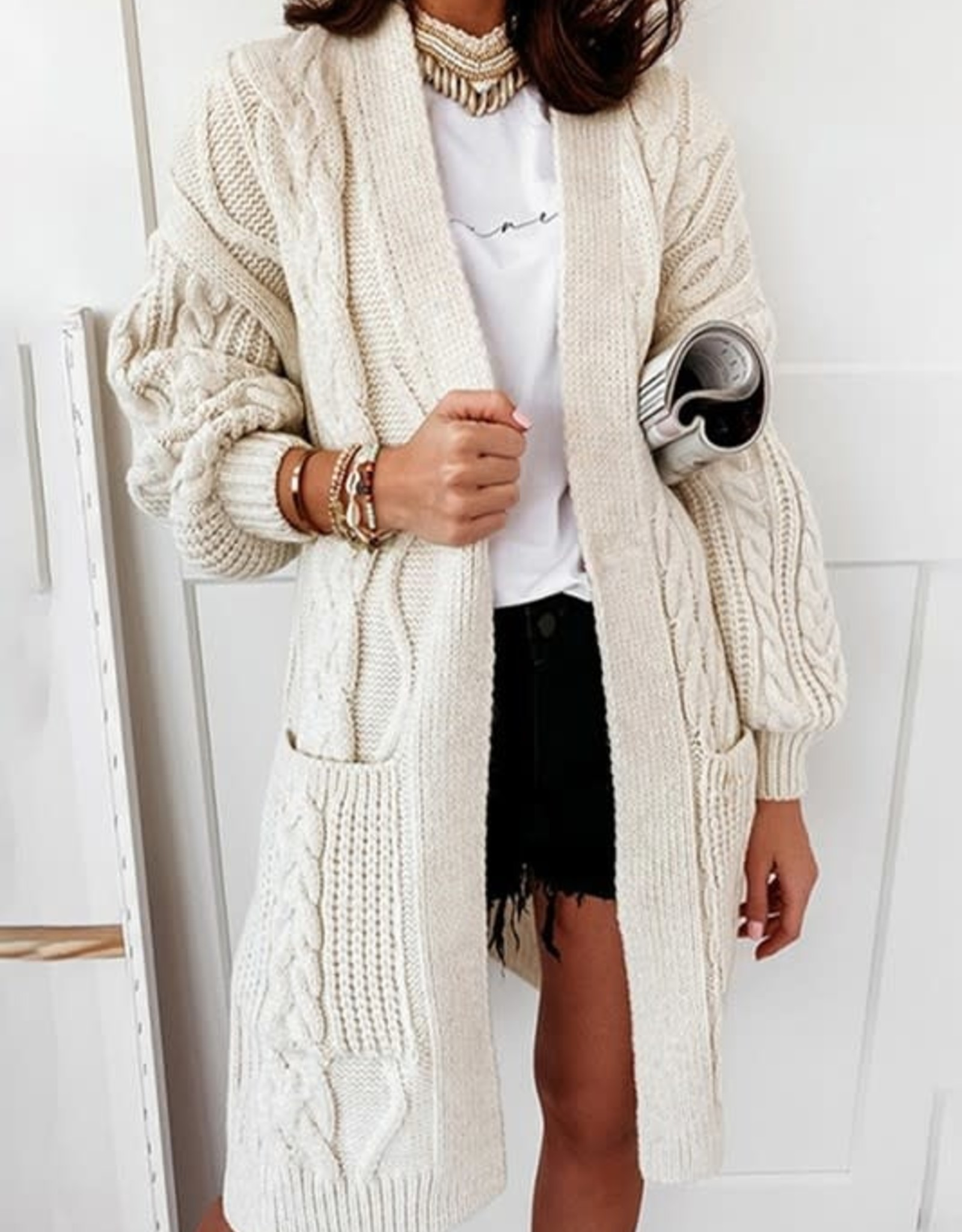 Song and Sol Open Cable Knit Cardigan