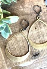 Harlow Oblong Brass Hoop Earrings