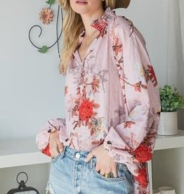 Bucket List Pink Floral Smocked Collar Blouse