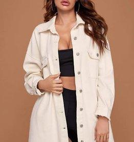 Miss Sparkling White Denim Oversized Jacket