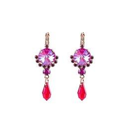 "Mariana Mariana Rivoli Cluster Leverback Earrings with Briolette Dangle in ""Hibiscus"""