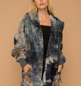 Hem & Thread Blue Brown Tie Dye Faux Fur Jacket