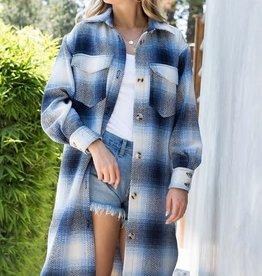 Sweet Lovely by Jen Button Down Long Plaid Jacket