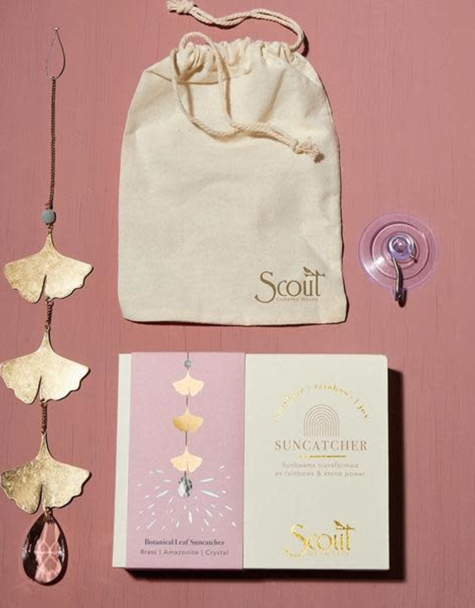 Scout Suncatcher- Botanical Leaf/Amazonite