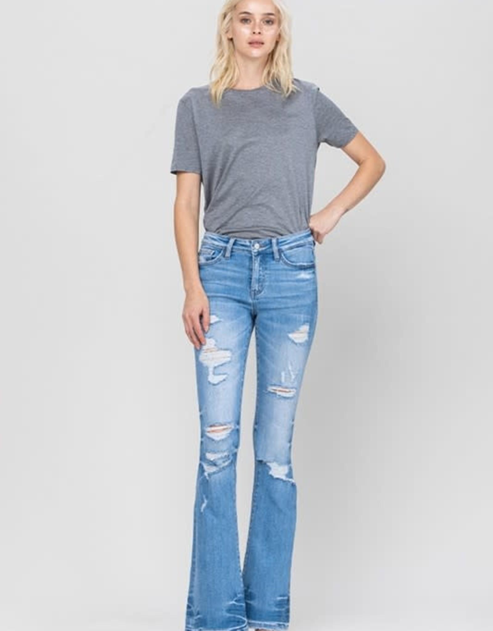 Vervet Vervet Distressed Mid Rise Flare Jeans