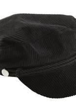 Tickled Pink NewsBoy Corduroy Hat Black