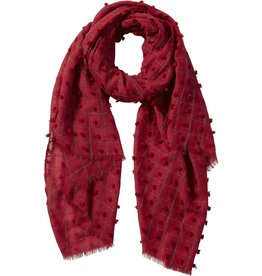Tickled Pink Knotted Squares Scarf Garnet Red