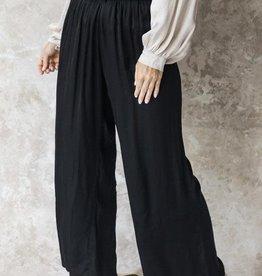 Cobblestone Alaina Satin Elastic Pants Black L/XL