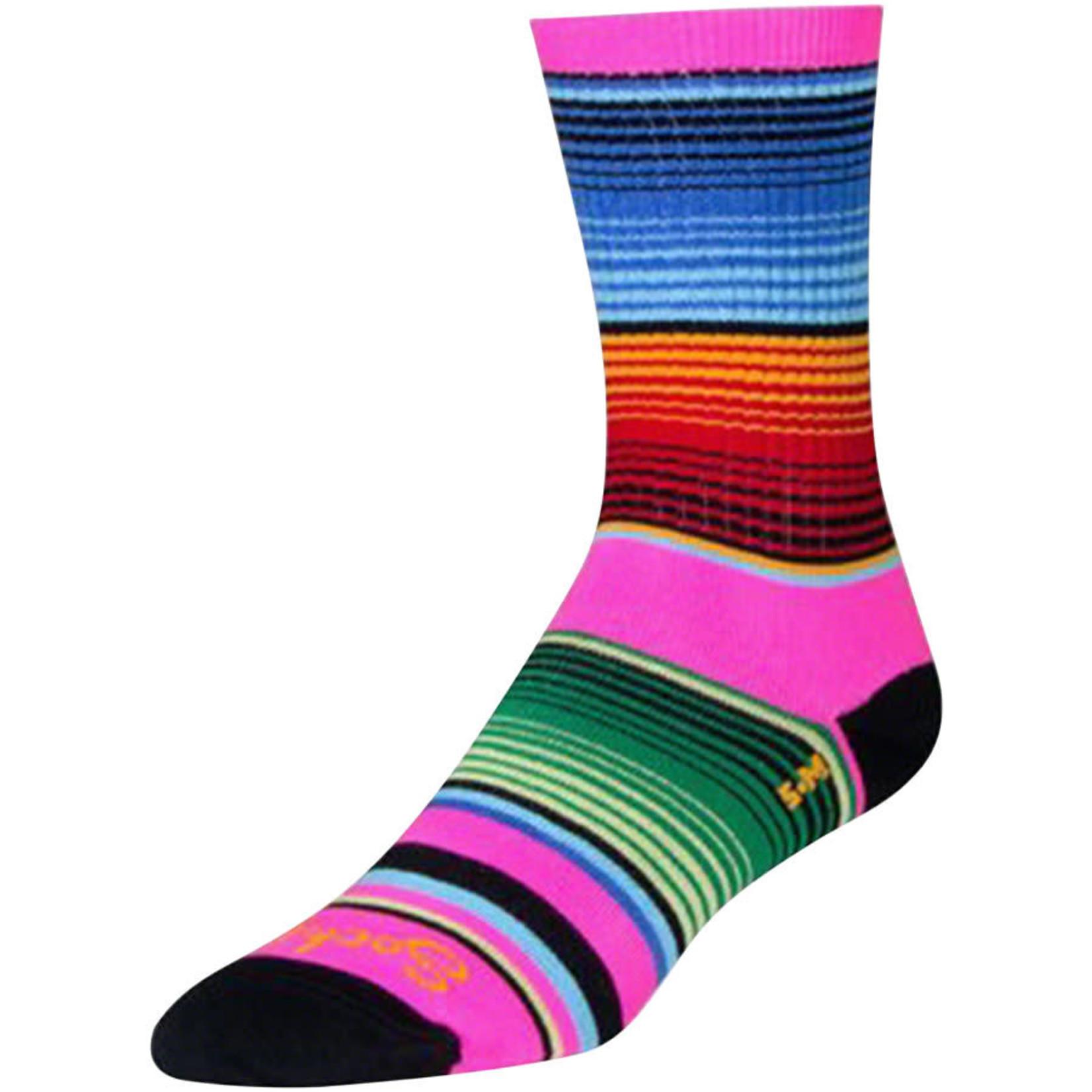 SockGuy SockGuy Crew Siesta Socks - 6 inch - Pink/Multi-Color