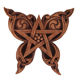 Butterfly Pentacle Plaque in Wood Finish